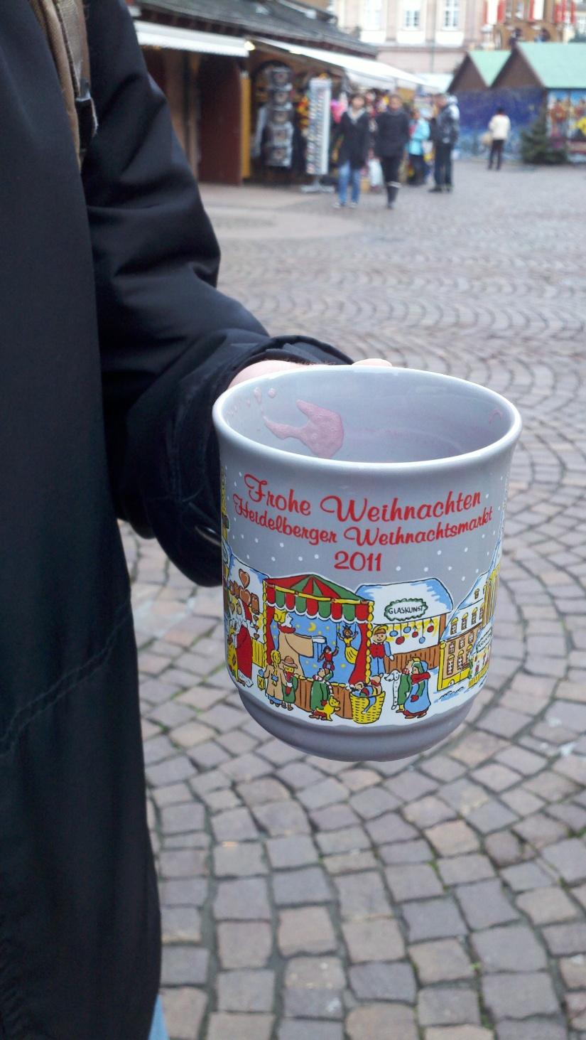 The mug from our first Glühwein at the Heidelberg Weihnachtsmarkt (Christmas Market).