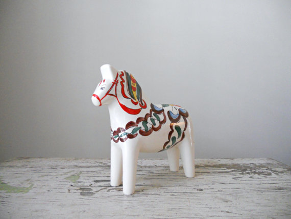 Ceramic Dala Horse via BergenHouse on Etsy