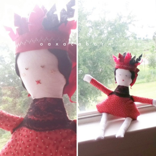 Handmade fabric doll with felt feather headband, as made by Oaxacaborn dot com