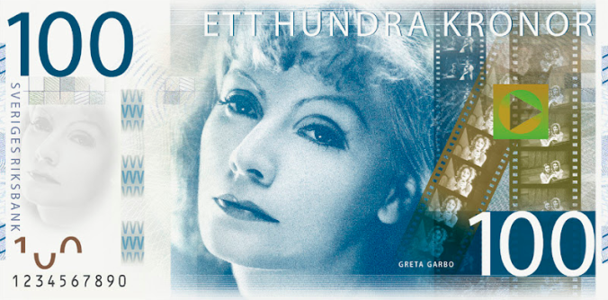 Greta Garbo on a 100 kronor Swedish bill
