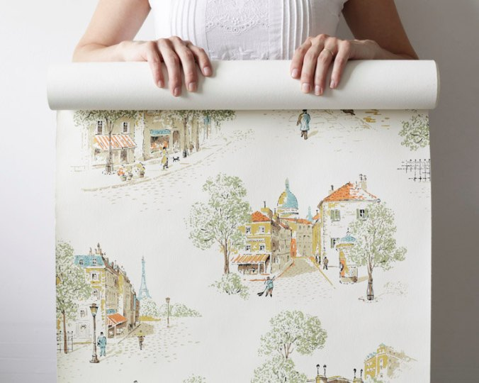 Vintage wallpaper showing Paris streetscapes, via SmileMercantile on Etsy