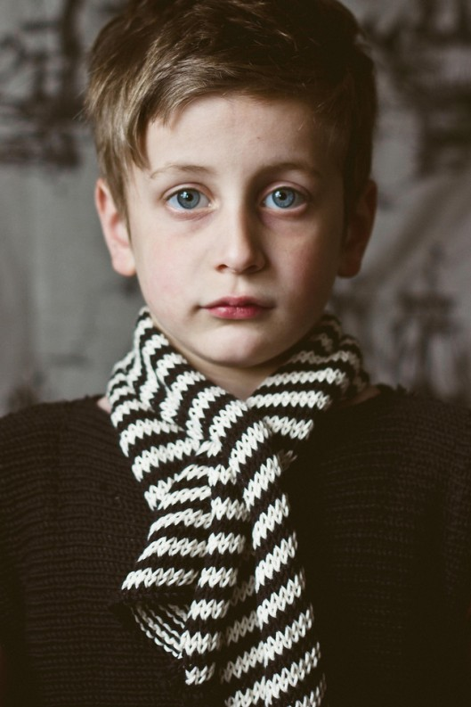 black and white stripey scarf and vest - Flannery O'Kafka's %22This is Glasgow%22 Collection for Toto Knits