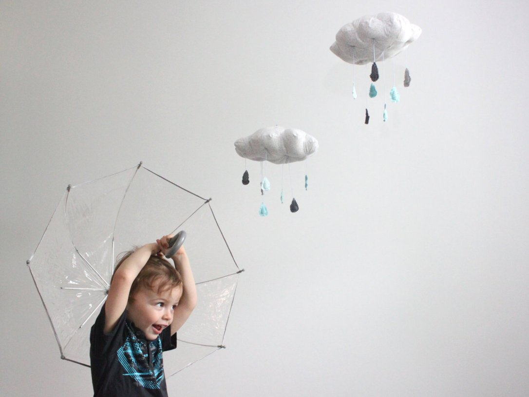 Blue and grey - Cloud and hearts mobile via Baby Jives Co on Etsy