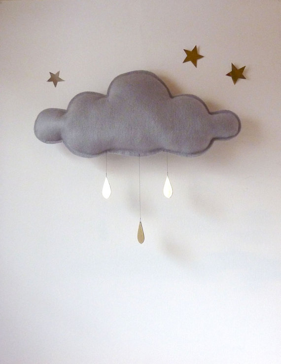 CLoud with gold raindrops and stars via Le Ptit Papillon on Etsy