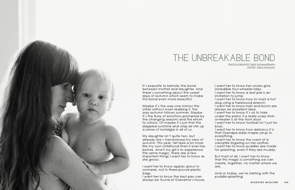 The Unbreakable Bond by Gina Munsey for Babiekins Magazine Issue 10