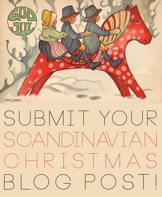 Submit your Scandinavian Christmas blog post to Oaxacaborn dot com! Illustration of Dala Horse Swedish Christmas by Aina Stenberg