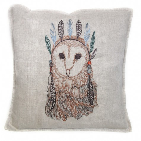 Owl Portrait Pillow via Coral and Tusk as sold on Sweet William LTD