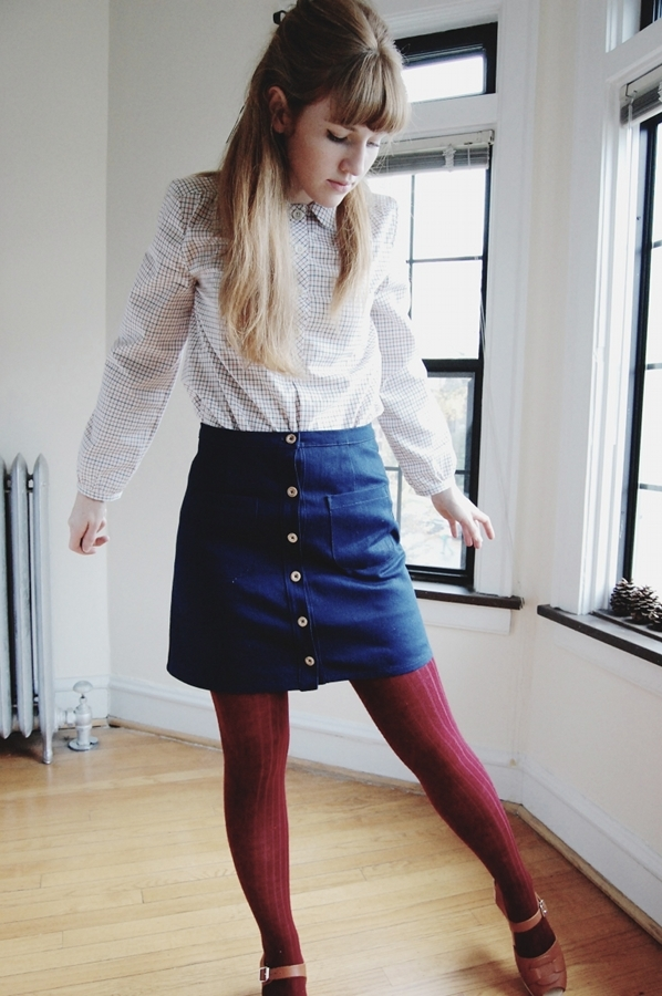 Denim Button-up Skirt and Tattersall Pullover Top - Anna Allen Clothing