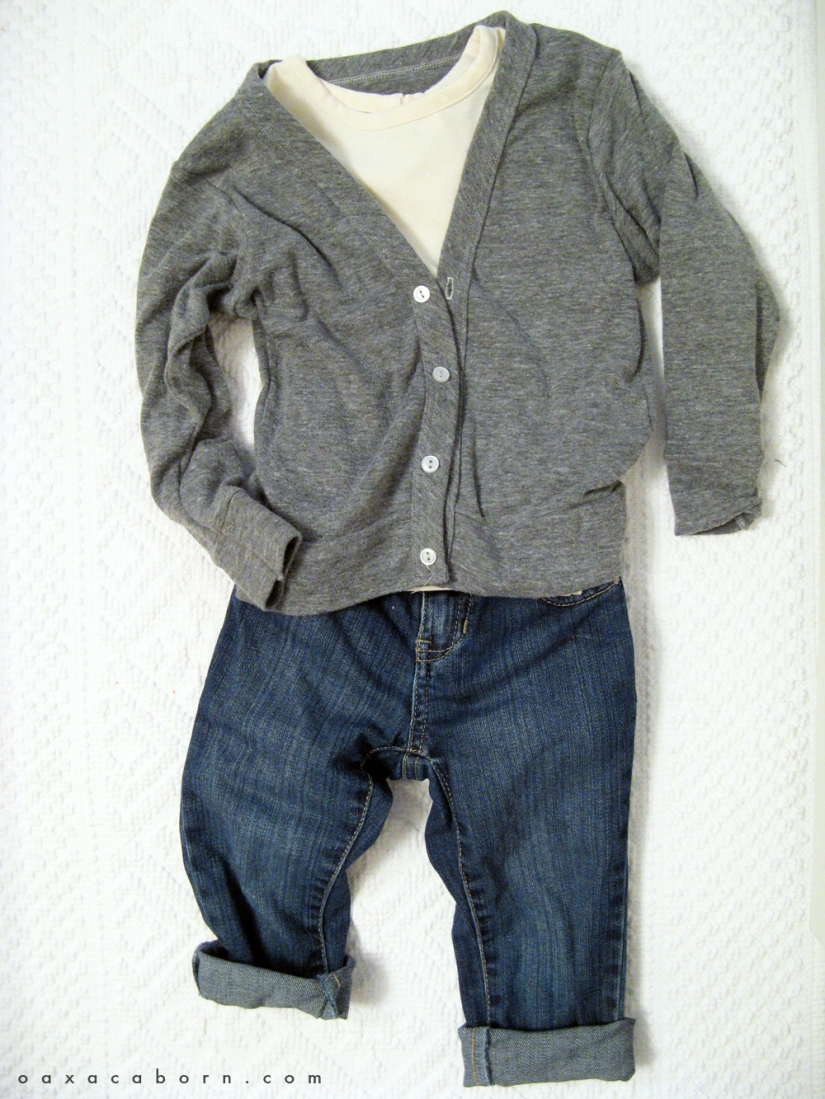Little Style - Toddler Jeans and Cardi - Neutrals- via Oaxacaborn dot com