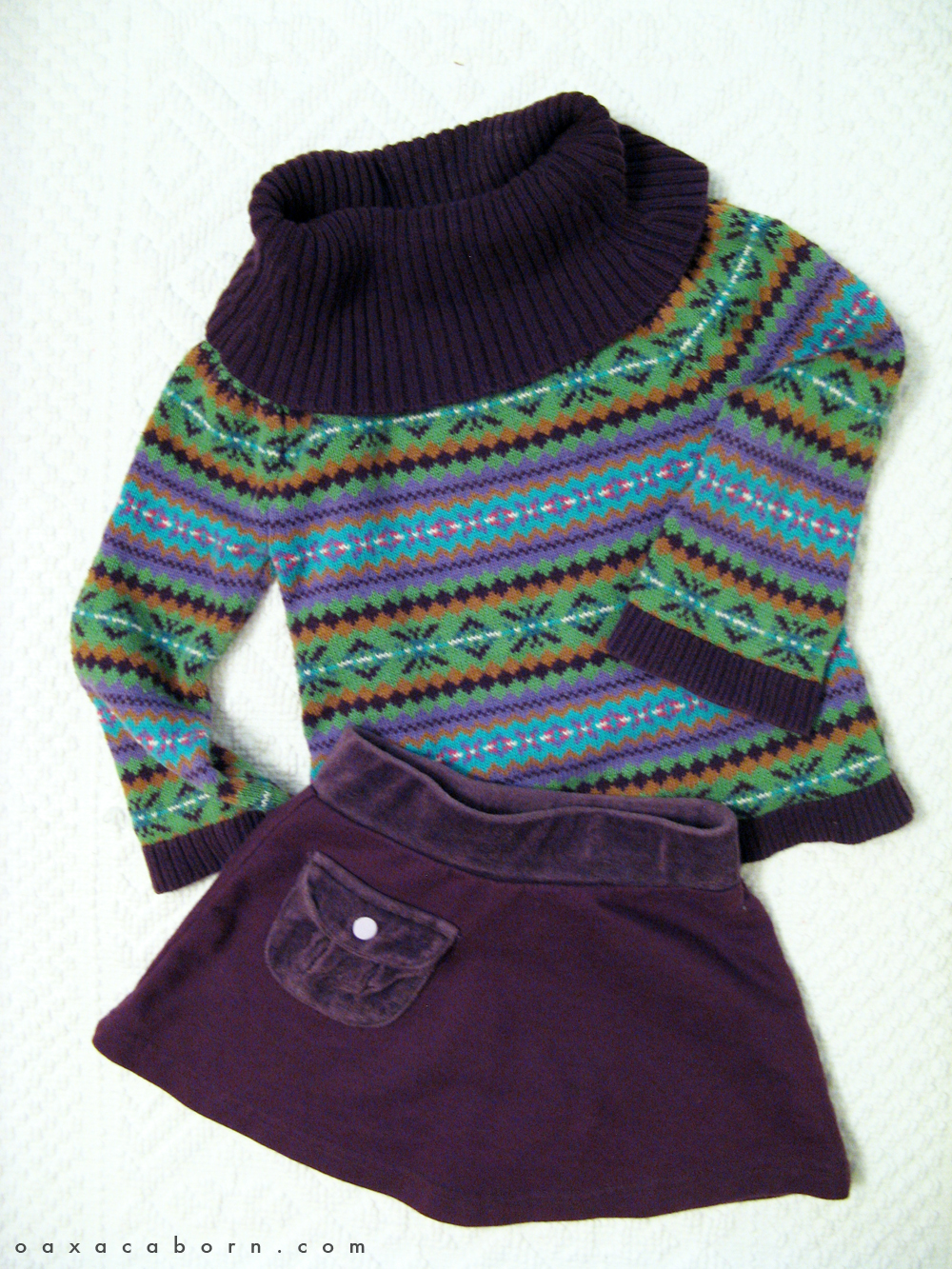 Little Style - Toddler Sweater and Skirt - Fair Isle - via the Oaxacaborn dot com blog