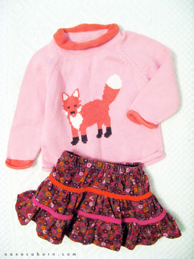 Little Style - Toddler Sweater and Skirt - Fox- via the Oaxacaborn dot com blog