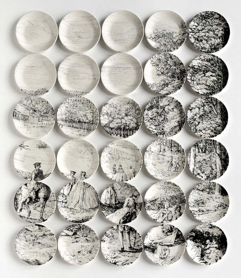 Molly Hatch Toile Plate Paintings