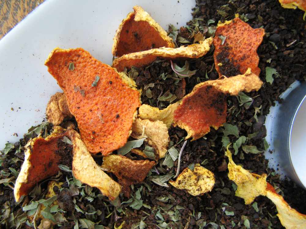 Orange peels, coffee grounds, cinnamon, and dried mint - all-natural potpourri