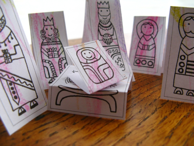 Aveline's version of the Made by Joel Paper Nativity