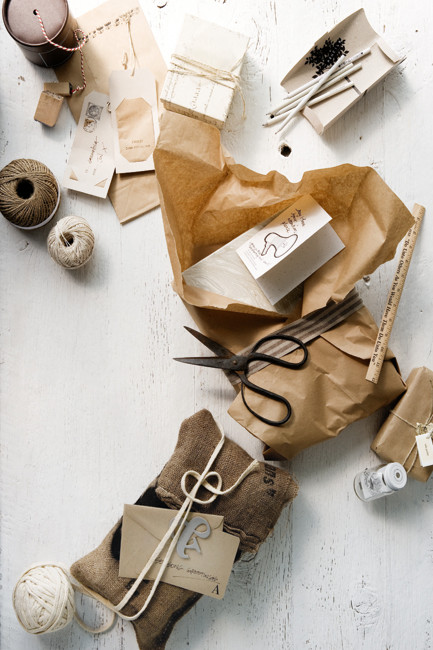 Burlap and Kraft Paper Wrapping - PHOTOGRAPHY SAM MCADAM STYLING GLEN PROEBSTEL for Home Life Australia
