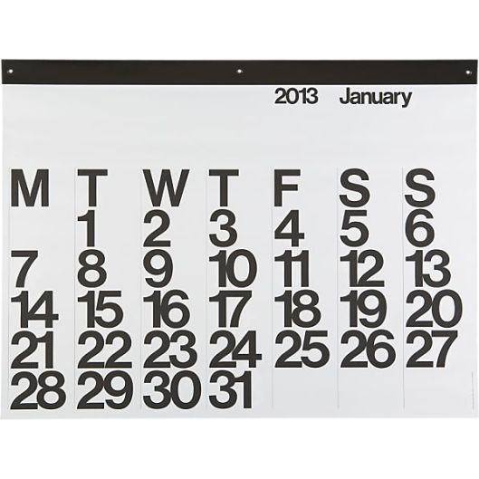 Classic 2013 Wall Calendar via Crate and Barrel