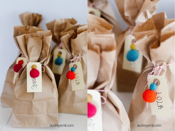 Felted Balls and Twine on Brown Paper Bags as Packaging  - Audrey Smit for The French Import