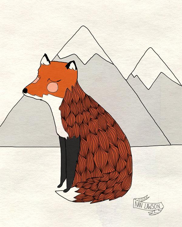 Fox illustration via Nan Lawson on Etsy
