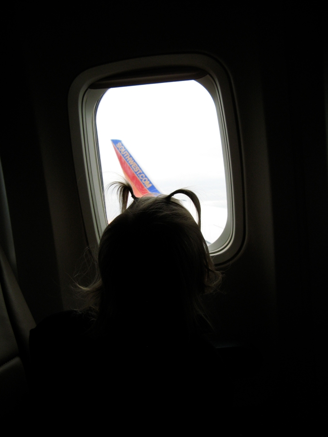 Toddler in airplane window looking at Southwest wing - via the Oaxacaborn blog - photo by Gina Munsey
