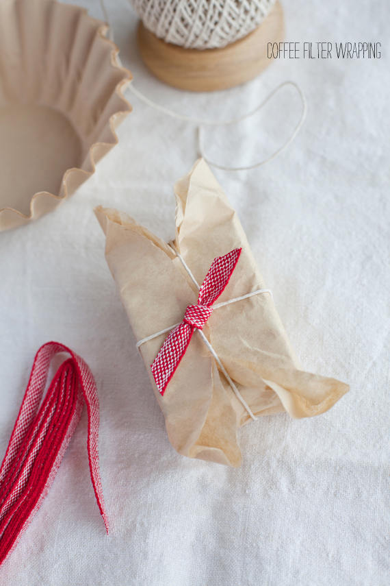 Unbleached coffee filters as wrapping paper via The Creative Mint -- More Ideas on Beautiful and Inexpensive Gift Wrap on the Oaxacaborn blog
