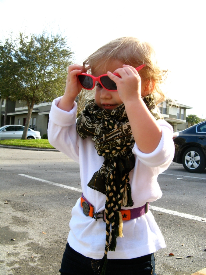 1 - neon wayfarers and large scarf on small child