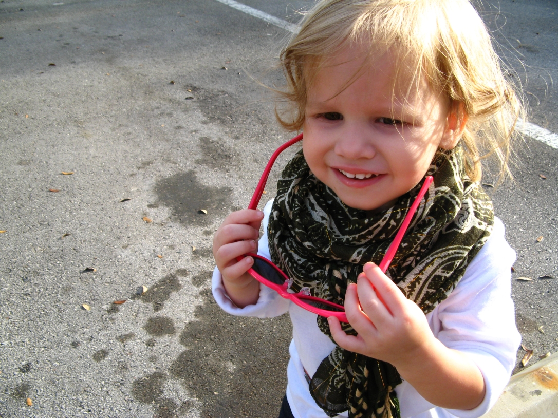 2 - neon wayfarers and large scarf on small child