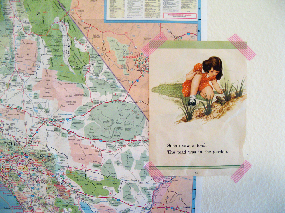 Aveline's room tour via Oaxacaborn - California map and page from vintage children's book
