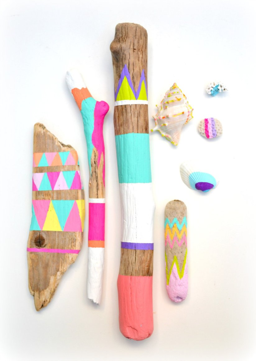 Painted sticks and seashells collection via Bonjour Frenchie