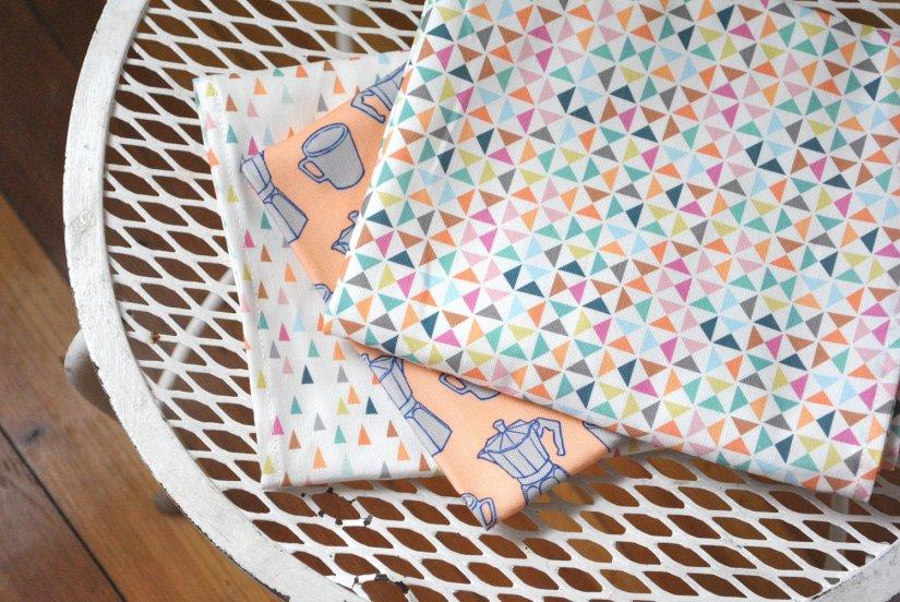 Pinwheel and triangles original tea towel by KatherineCodega