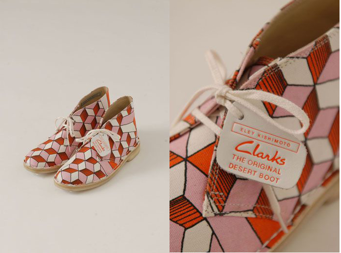SS13 ORANGE CUTEBOYS CLARKS DESERT BOOTS via Eley Kishimoto as seen on Monday's Pretty Things on Oaxacaborn dot com