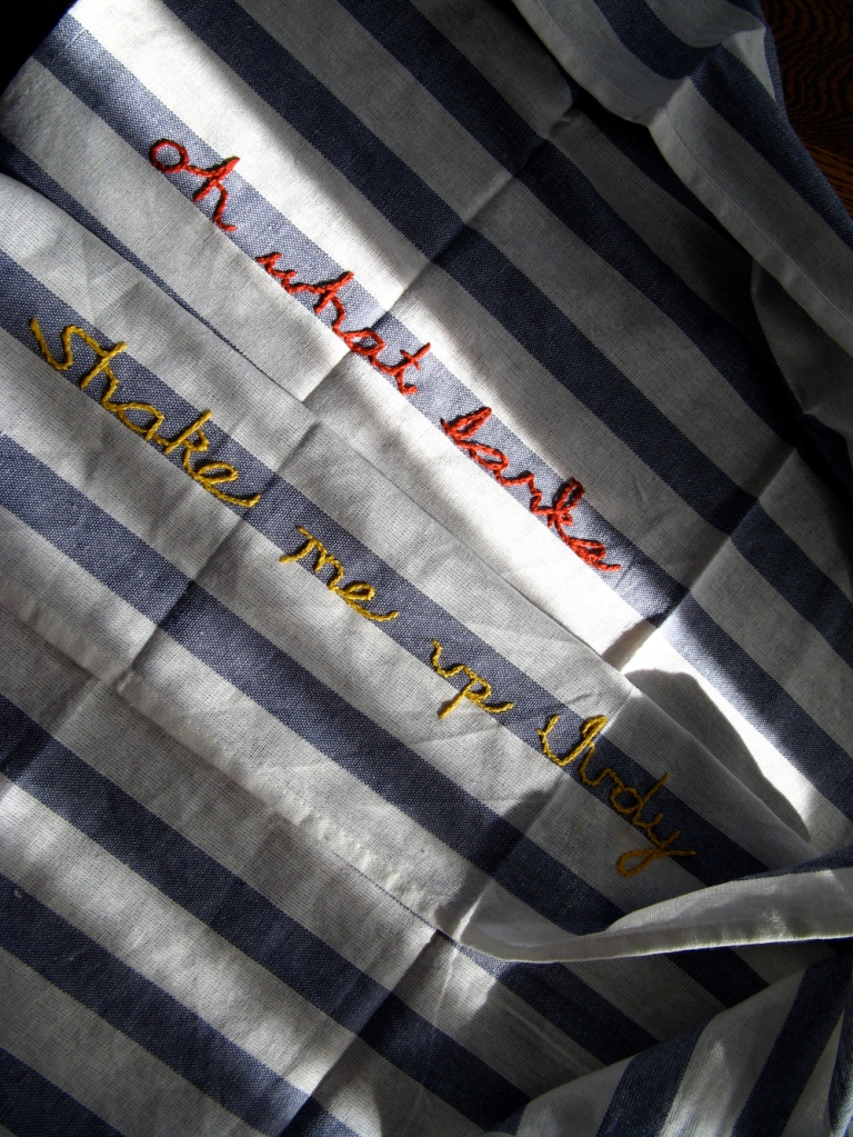 Charles Dickens Quotes Embroidered onto Striped Linen Kitchen Towels via Oaxacaborn