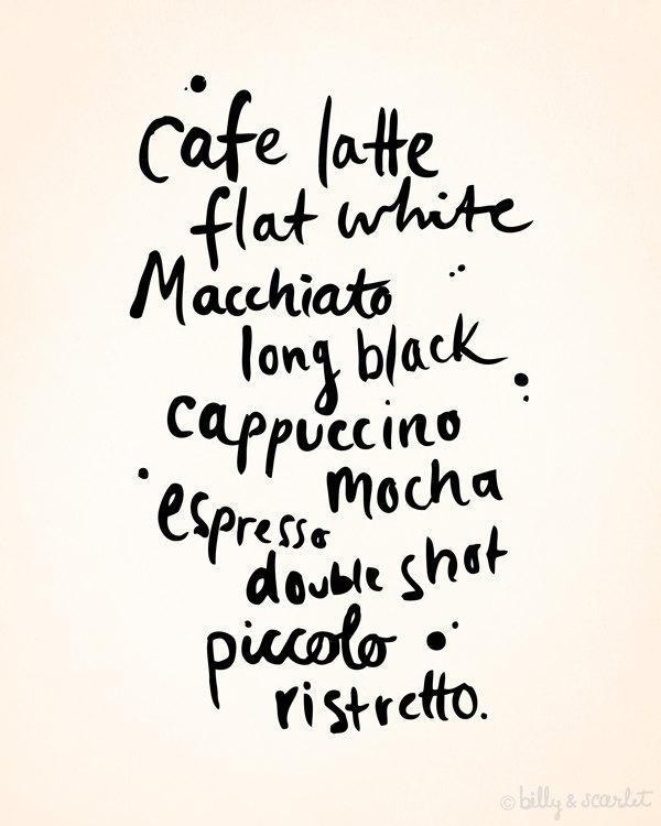 Coffee art print via Billy & Scarlet