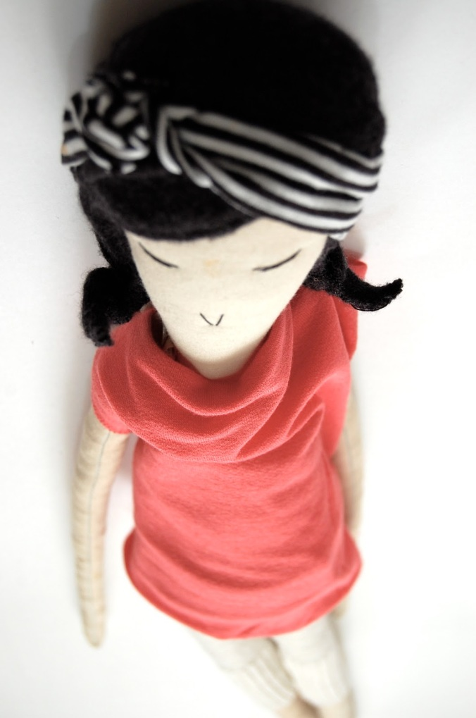 Doll in Coral Dress from Moemoe made
