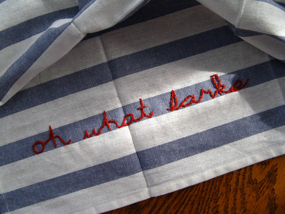 Joe Gargery Quote from Great Expectations -What Larks- Embroidered onto Striped Linen Kitchen Towels via Oaxacaborn