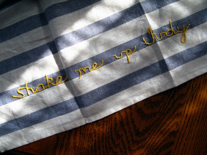 Smallweed Quote from Bleak House -Shake me up, Judy- Embroidered onto Striped Linen Kitchen Towels via Oaxacaborn