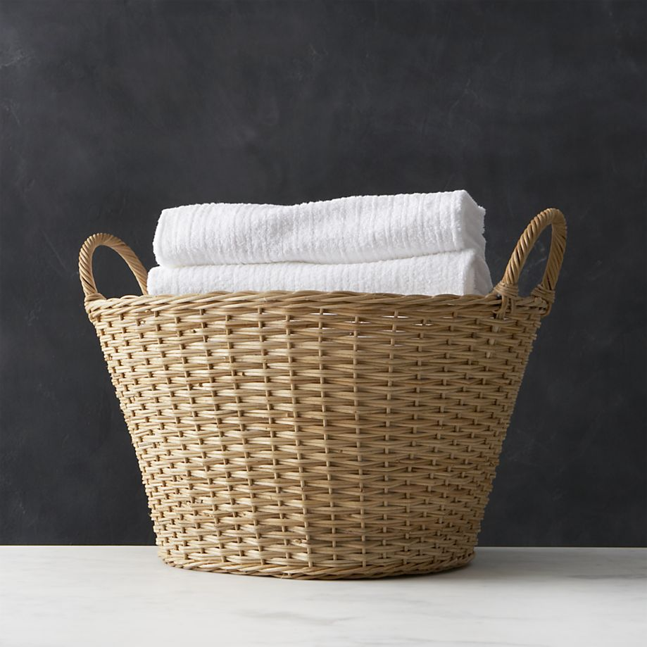 Wicker laundry basket from Crate and Barrel
