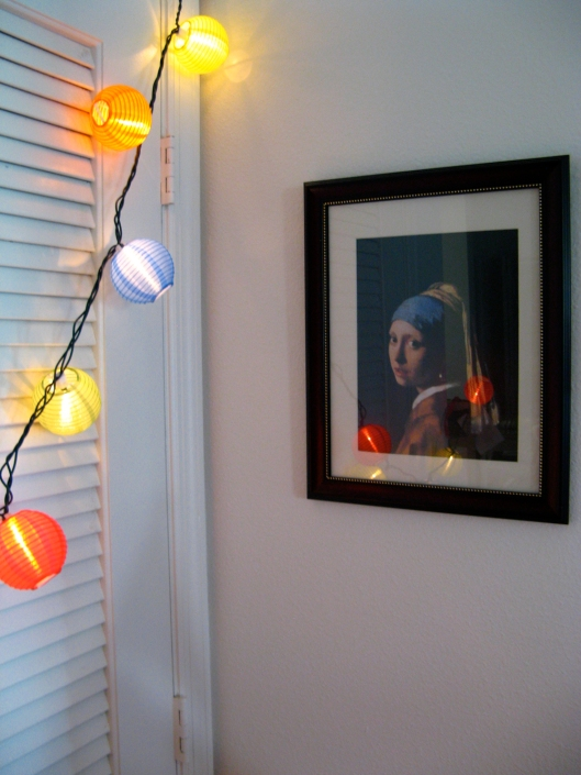 Chinese lantern lights and Girl with Pearl Earring by Vermeer via Oaxacaborn