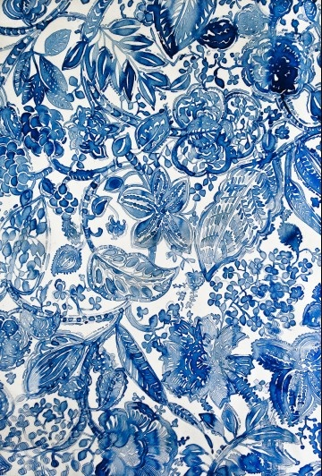 10 Cobalt Blue Patterns for Inspiration on the Oaxacaborn blog - Watercolor by Luli Sanchez
