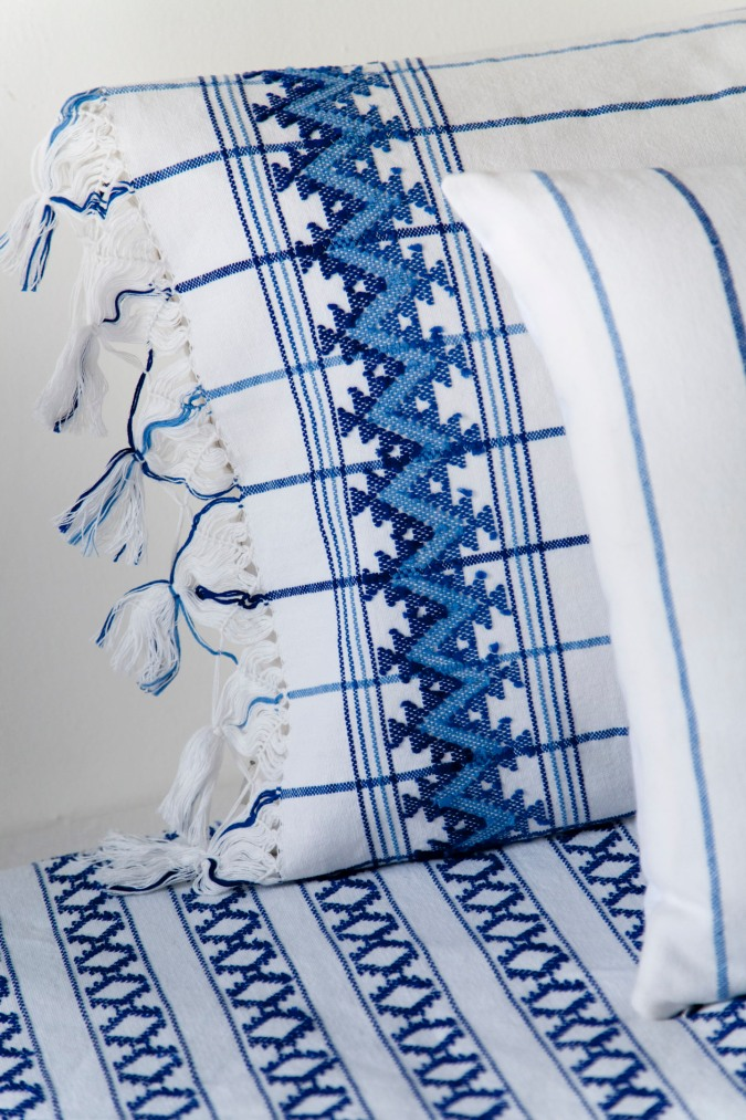 10 Cobalt Blue Patterns for Inspiration on the Oaxacaborn blog - Handwoven traditional Mixteco bedspread via Maggie Galton