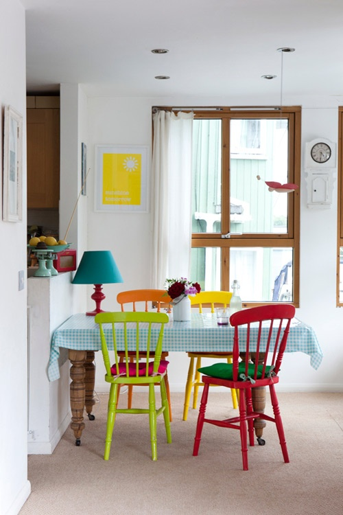 colorful kitchen chairs on Design*Sponge
