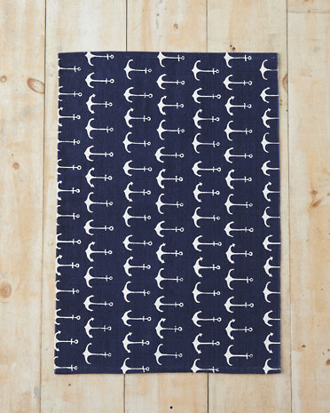 10 Cobalt Blue Patterns for Inspiration on the Oaxacaborn blog - Garnet Hill Nautical Anchor Rug