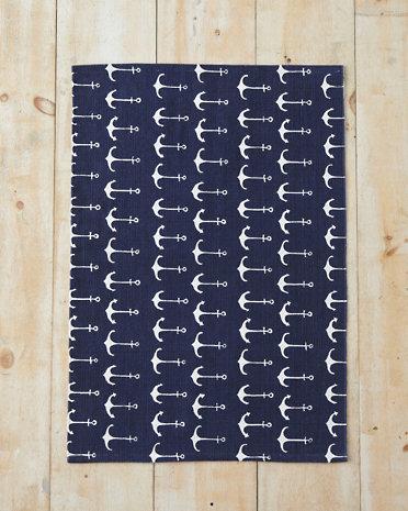 10 Cobalt Blue Patterns for Inspiration on the Oaxacaborn blog - Garnet Hill Nautical Anchor Rug
