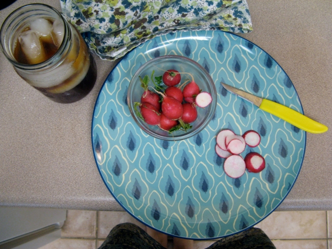 Cutting up radishes for lunch
