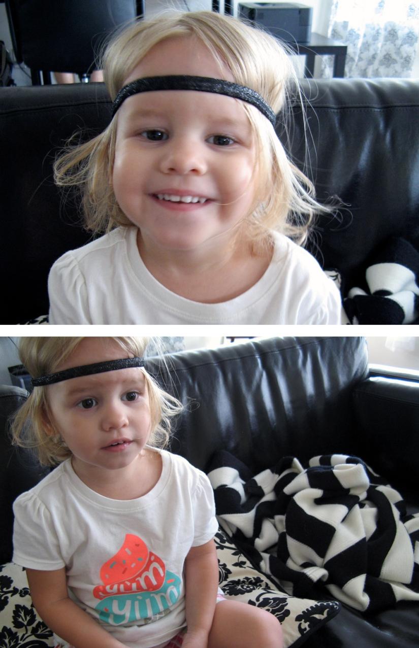 June 2013 - Aveline in headband and icecream shirt