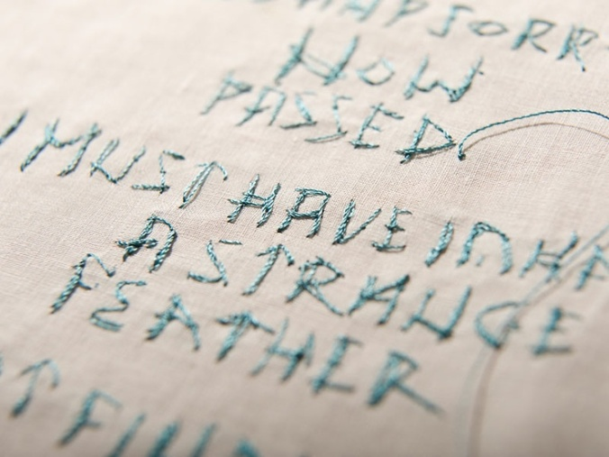 Typographic Embroidery via Rosalind Wyatt