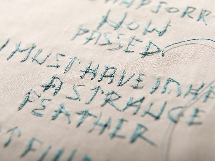 Typographic Embroidery via Rosalind Wyatt