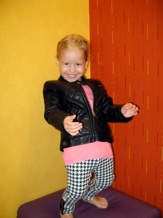 Image - Aveline Alenka in JCP JCPenney Back to School Collection - FirstDayLook Toddler Style Houndstooth Pants and Faux Leather Jacket on the Oaxacaborn blog 3