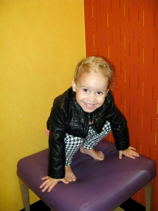 Image - Aveline Alenka in JCP JCPenney Back to School Collection - FirstDayLook Toddler Style Houndstooth Pants and Faux Leather Jacket on the Oaxacaborn blog 4