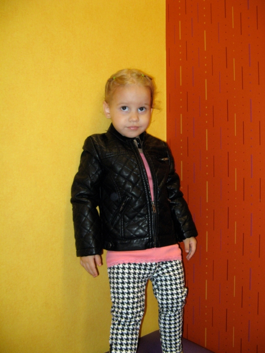 Image - Aveline Alenka in JCP JCPenney Back to School Collection - FirstDayLook Toddler Style Houndstooth Pants and Faux Leather Jacket on the Oaxacaborn blog copy