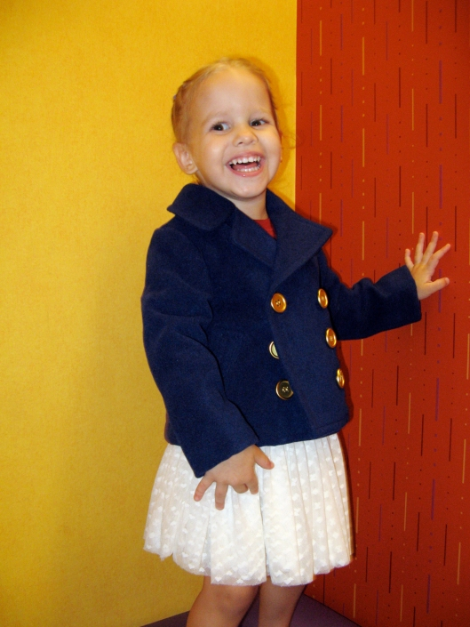 Image - Aveline Alenka in JCP JCPenney Back to School Collection - FirstDayLook Toddler Style Navy Pea Coat and White Tutu on the Oaxacaborn blog copy